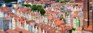 Red tiled roofs in the old town of Gdansk, Poland - GlobePhotos - royalty free stock images