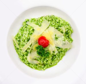 Risotto al Pesto with parmesan cheese - GlobePhotos - royalty free stock images