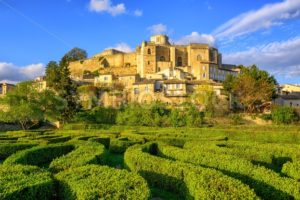 Labyrinth garden and castle Grignan, Drome, France - GlobePhotos - royalty free stock images