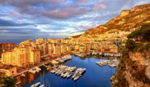 View of the Port Fontvieille on sunrise, Monaco, France - GlobePhotos - royalty free stock images