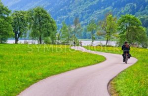 Bicycle track on Danube river in Austria - GlobePhotos - royalty free stock images