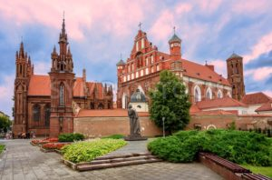 Brick gothic churches in the Old Town of Vilnius, Lithuania - GlobePhotos - royalty free stock images