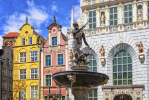 Neptune's Fountain and gothic houses in Gdansk, Poland - GlobePhotos - royalty free stock images