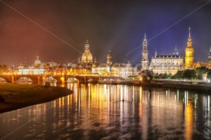 Old town of Dresden on Elbe river at night, Germany - GlobePhotos - royalty free stock images