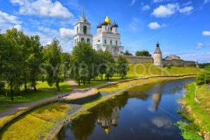 Pskov Kremlin reflecting in a river, Pskov, Russia - GlobePhotos - royalty free stock images