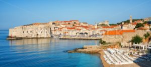 Sand beach in medieval town Dubrovnik, Croatia - GlobePhotos - royalty free stock images