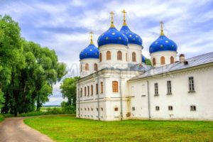 Blue domes of Yuriev Monastery, Novgorod, Russia - GlobePhotos - royalty free stock images