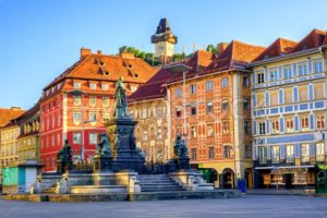 Central square in the Old Town of Graz, Austria - GlobePhotos - royalty free stock images