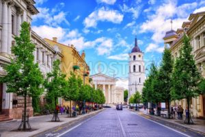 Gediminas Avenue and Cathedral square, Vilnius, Lithuania, - GlobePhotos - royalty free stock images