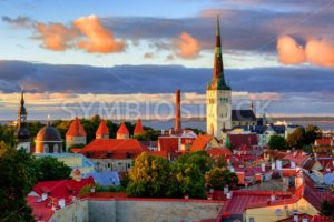 Medieval churches and towers in the old town of Tallinn, Estonia - GlobePhotos - royalty free stock images