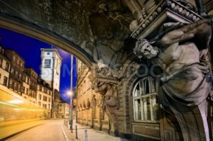 Night scene in the old town of Frankfurt Main, Germany - GlobePhotos - royalty free stock images