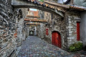 Old cobbled street in old town of Tallinn, Estonia - GlobePhotos - royalty free stock images
