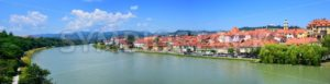 Panorama of the old town Maribor on Drava river, Slovenia - GlobePhotos - royalty free stock images