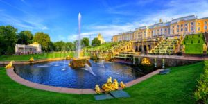 Panoramic view of Peterhof Palace, St Petersburg, Russia - GlobePhotos - royalty free stock images