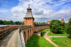 Red brick walls and towers of Novgorod, Russia - GlobePhotos - royalty free stock images