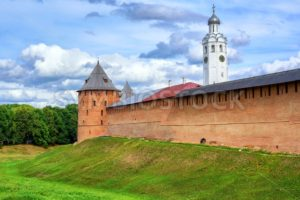 Red walls and white church in Novgorod Kremlin, Russia - GlobePhotos - royalty free stock images