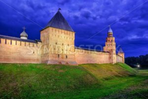 Red walls of Novgorod Kremlin at night, Russia - GlobePhotos - royalty free stock images