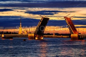 The Palace Bridge on Neva river, St Petersburg, Russia - GlobePhotos - royalty free stock images