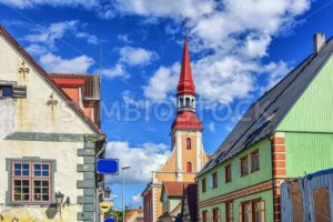 Traditional colorful buildings in Parnu, Esonia - GlobePhotos - royalty free stock images