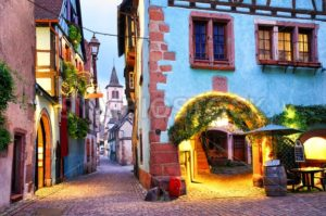 Colorful town of Riquewihr, Alsace, France - GlobePhotos - royalty free stock images