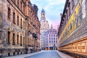 Dresden, Germany, mosaic wall and Frauenkirche cathedral in background - GlobePhotos - royalty free stock images