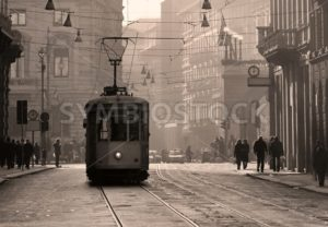 Historical tram in Milan old town, Italy - GlobePhotos - royalty free stock images
