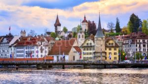 Medieval towers in the old town of Lucerne, Switzerland - GlobePhotos - royalty free stock images