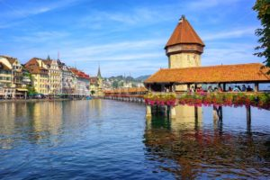 Wooden Chapel bridge in Lucerne old town, Switzerland - GlobePhotos - royalty free stock images