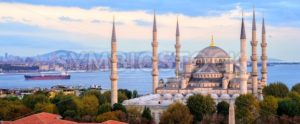 Blue Mosque and Bosporus panorama, Istanbul, Turkey - GlobePhotos - royalty free stock images