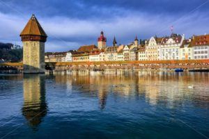 Chapel Bridge and Old Town Lucerne, Switzerland - GlobePhotos - royalty free stock images
