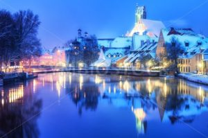 Christmas winter evening in small german town, Germany - GlobePhotos - royalty free stock images