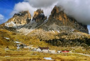 Clouds over Dolomites mountains, Alps, Italy - GlobePhotos - royalty free stock images