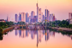 Frankfurt skyline reflecting in Main river, Germany - GlobePhotos - royalty free stock images