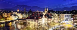 Lucerne, Switzerland, panoramic view at evening - GlobePhotos - royalty free stock images