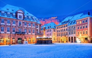 Medieval german town Heidelberg in winter, Germany - GlobePhotos - royalty free stock images