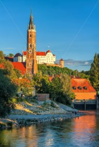 Medieval old town of Landshut on Isar river, Germany - GlobePhotos - royalty free stock images