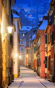 Narrow side street in Heidelberg old town, Germany - GlobePhotos - royalty free stock images