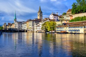 Old town of Zurich with Clock Tower, Switzerland - GlobePhotos - royalty free stock images
