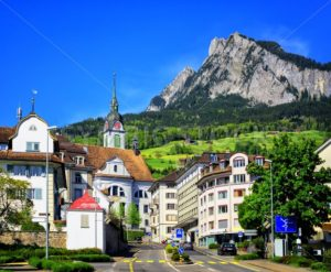 Schwyz town in Alps mountains, Central Switerland - GlobePhotos - royalty free stock images