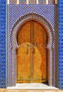 The ornamented golden door, Fes, Morocco - GlobePhotos - royalty free stock images