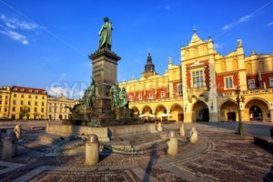 Cloth Hall and Adam Mickiewicz Monument, Krakow, Poland - GlobePhotos - royalty free stock images