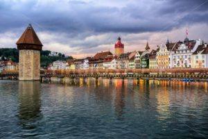 Lucerne old town on dramatic sunset, Switzerland - GlobePhotos - royalty free stock images