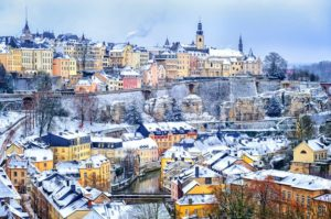 Luxembourg city snow white in winter, Europe - GlobePhotos - royalty free stock images
