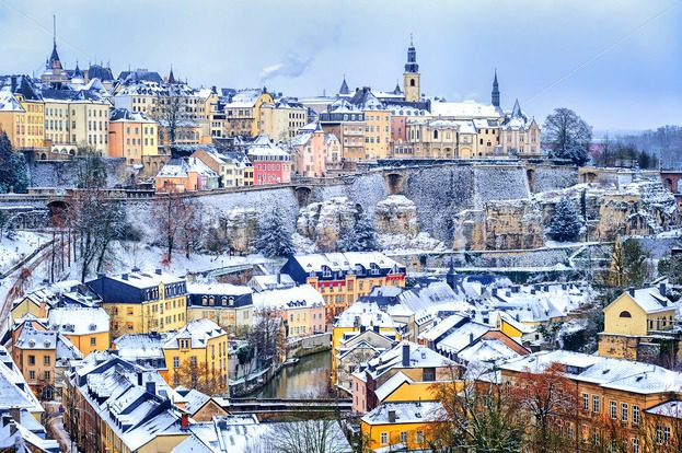 Luxembourg city snow white in winter europe globephotos royalty luxembourg city snow white in winter europe altavistaventures Choice Image