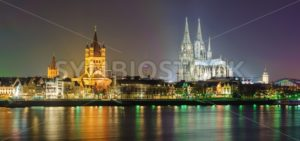 Night panoramic view of Cologne, Germany - GlobePhotos - royalty free stock images