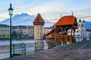 Old town of Lucerne with Mount Pilatus, Switzerland - GlobePhotos - royalty free stock images