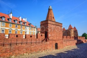 Red brick walls and towers of Warsaw Barbican, Poland - GlobePhotos - royalty free stock images