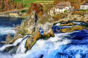 Rhine Falls in Switzerland, the largest waterfall in Europe - GlobePhotos - royalty free stock images