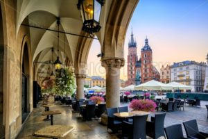 St Mary's Basilica and Main Market Square in Krakow, Poland - GlobePhotos - royalty free stock images