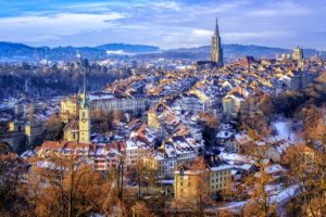 Bern Old Town on a cold snow winter day, Switzerland - GlobePhotos - royalty free stock images